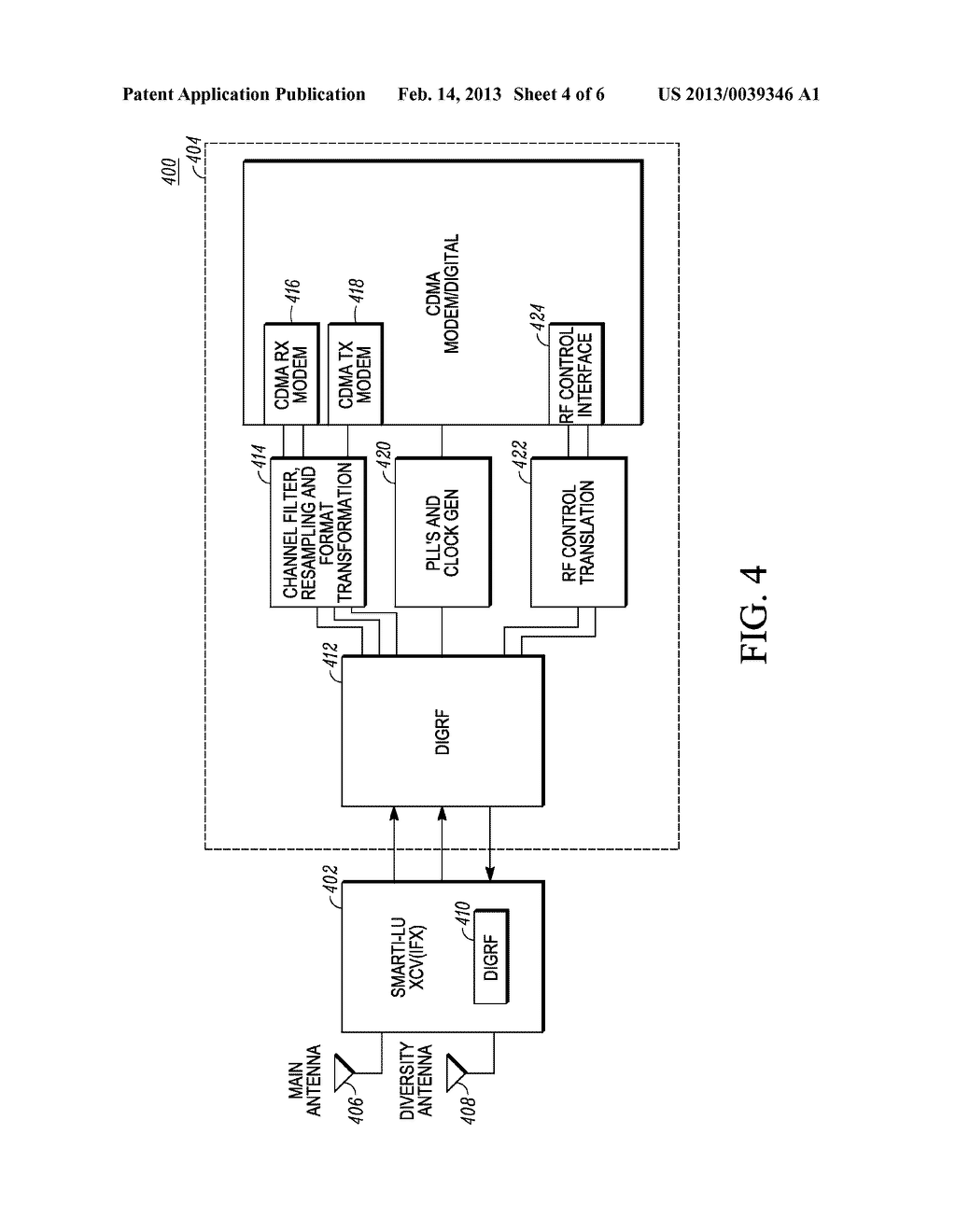 APPARATUS AND METHOD OF USING CDMA ARCHITECTURE FOR 3GPP2 COMPLIANT     TRANSCEIVERS - diagram, schematic, and image 05