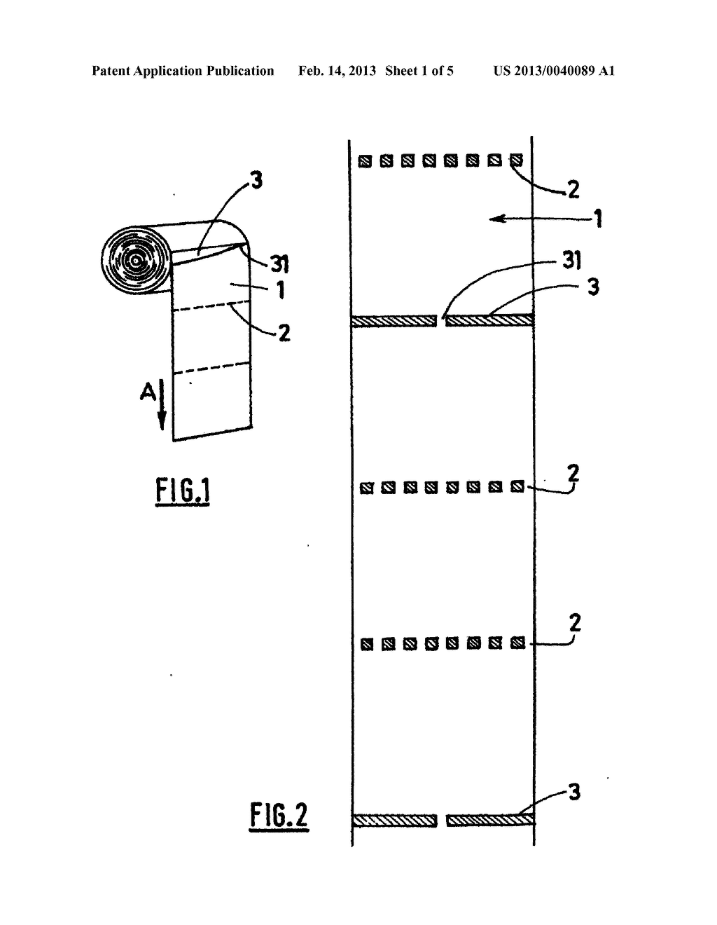 MANUFACTURING METHOD AND SYSTEM AND ASSOCIATED ROLLS OF SHEETS WITH     ALTERNATING CUTS AND PRE-CUTS - diagram, schematic, and image 02