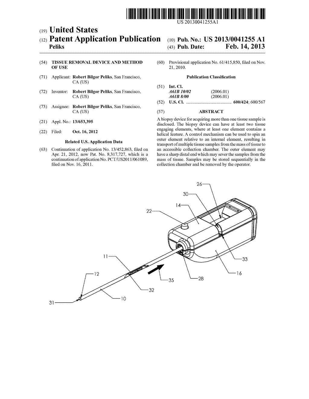 Tissue Removal Device and Method of Use - diagram, schematic, and image 01