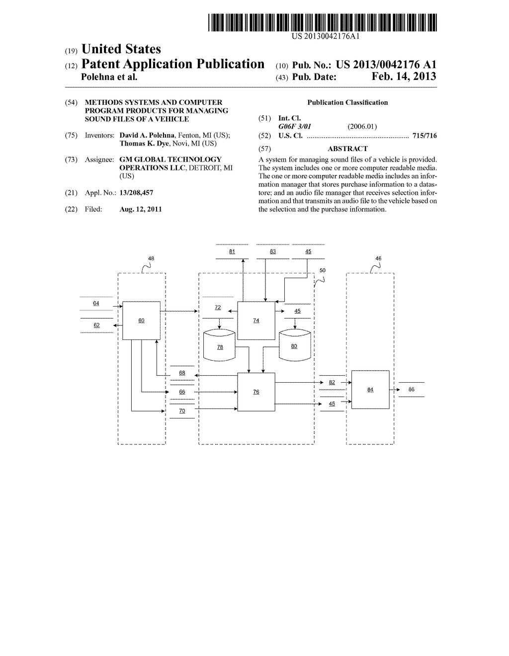 METHODS SYSTEMS AND COMPUTER PROGRAM PRODUCTS FOR MANAGING SOUND FILES OF     A VEHICLE - diagram, schematic, and image 01