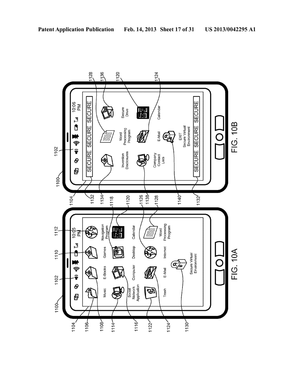 METHOD AND APPARATUS FOR PROVIDING A SECURE VIRTUAL ENVIRONMENT ON A     MOBILE DEVICE - diagram, schematic, and image 18