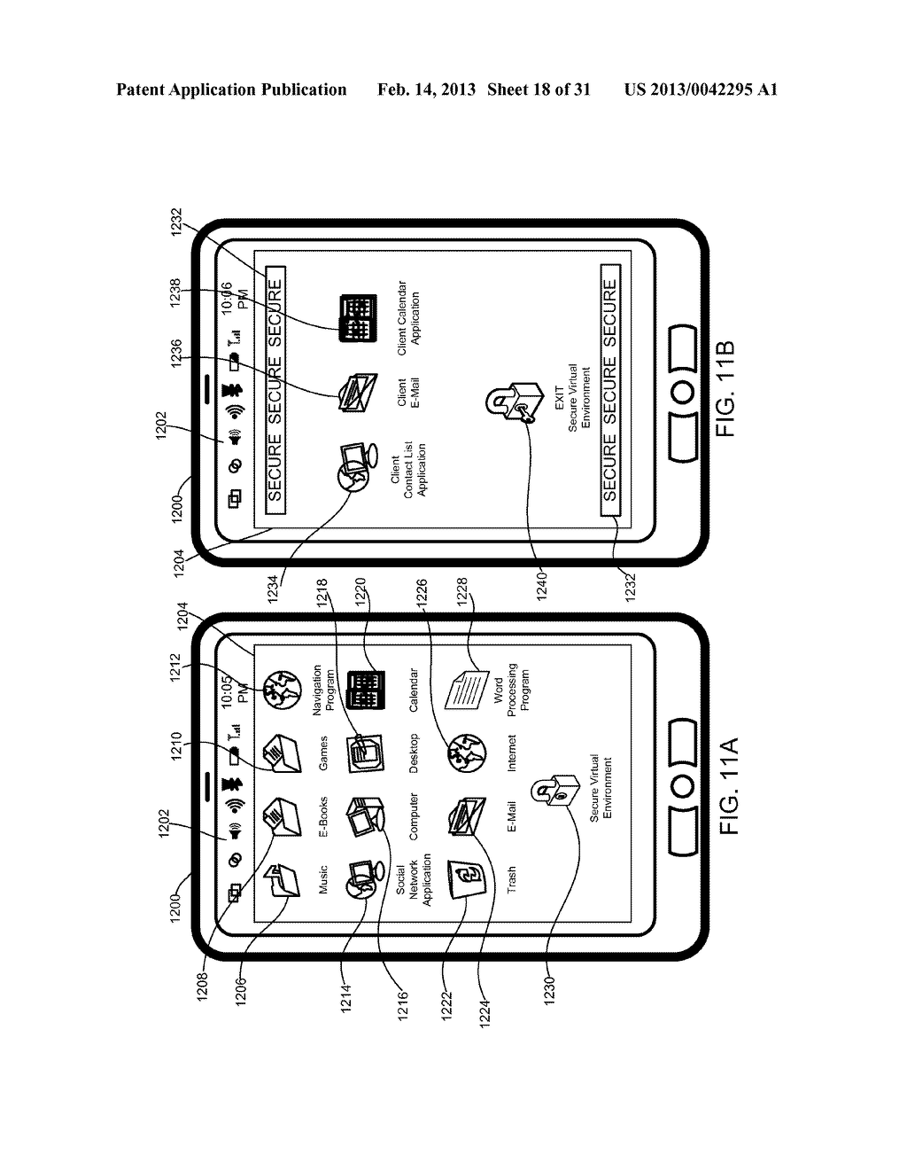 METHOD AND APPARATUS FOR PROVIDING A SECURE VIRTUAL ENVIRONMENT ON A     MOBILE DEVICE - diagram, schematic, and image 19