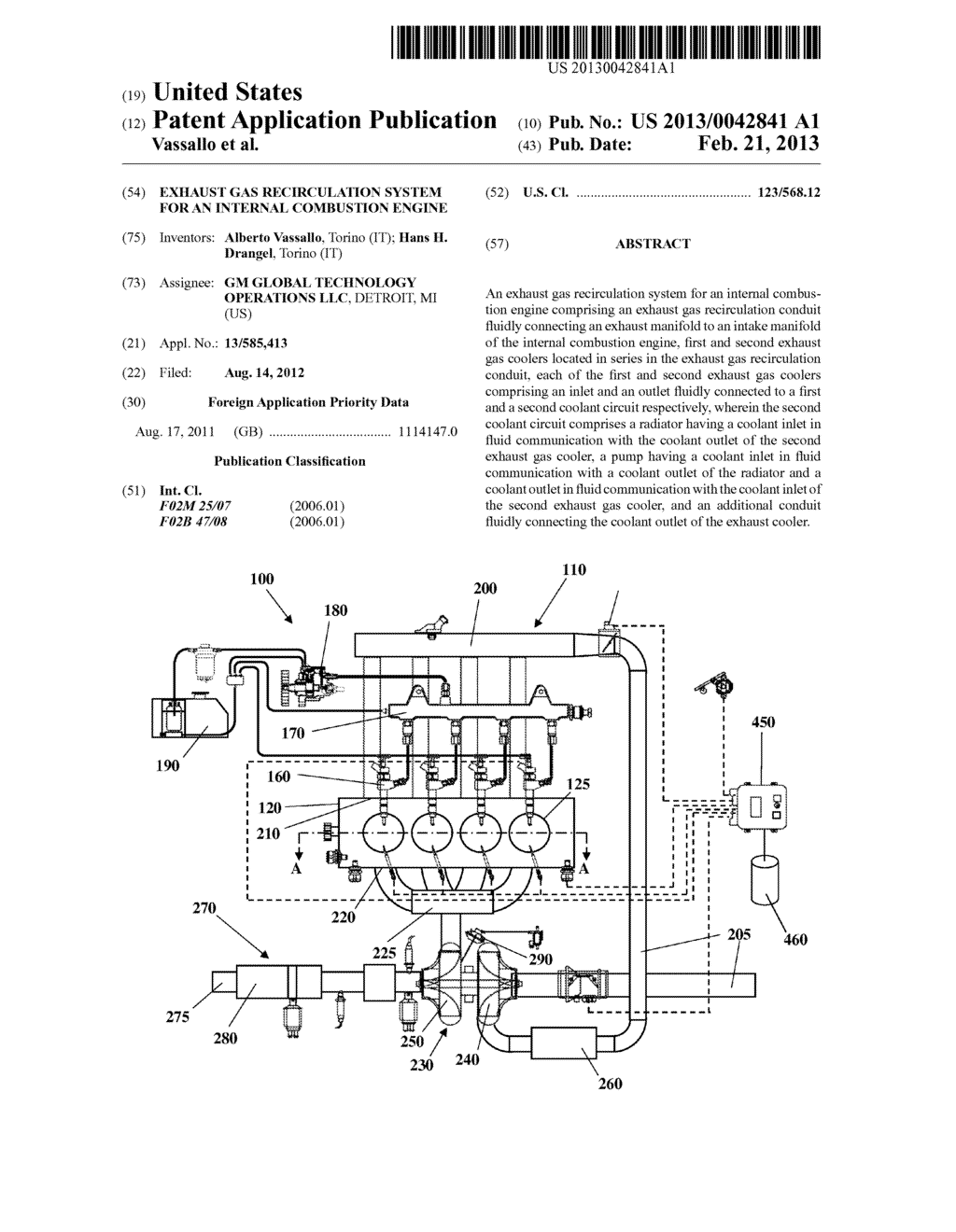 EXHAUST GAS RECIRCULATION SYSTEM FOR AN INTERNAL COMBUSTION ENGINE - diagram, schematic, and image 01