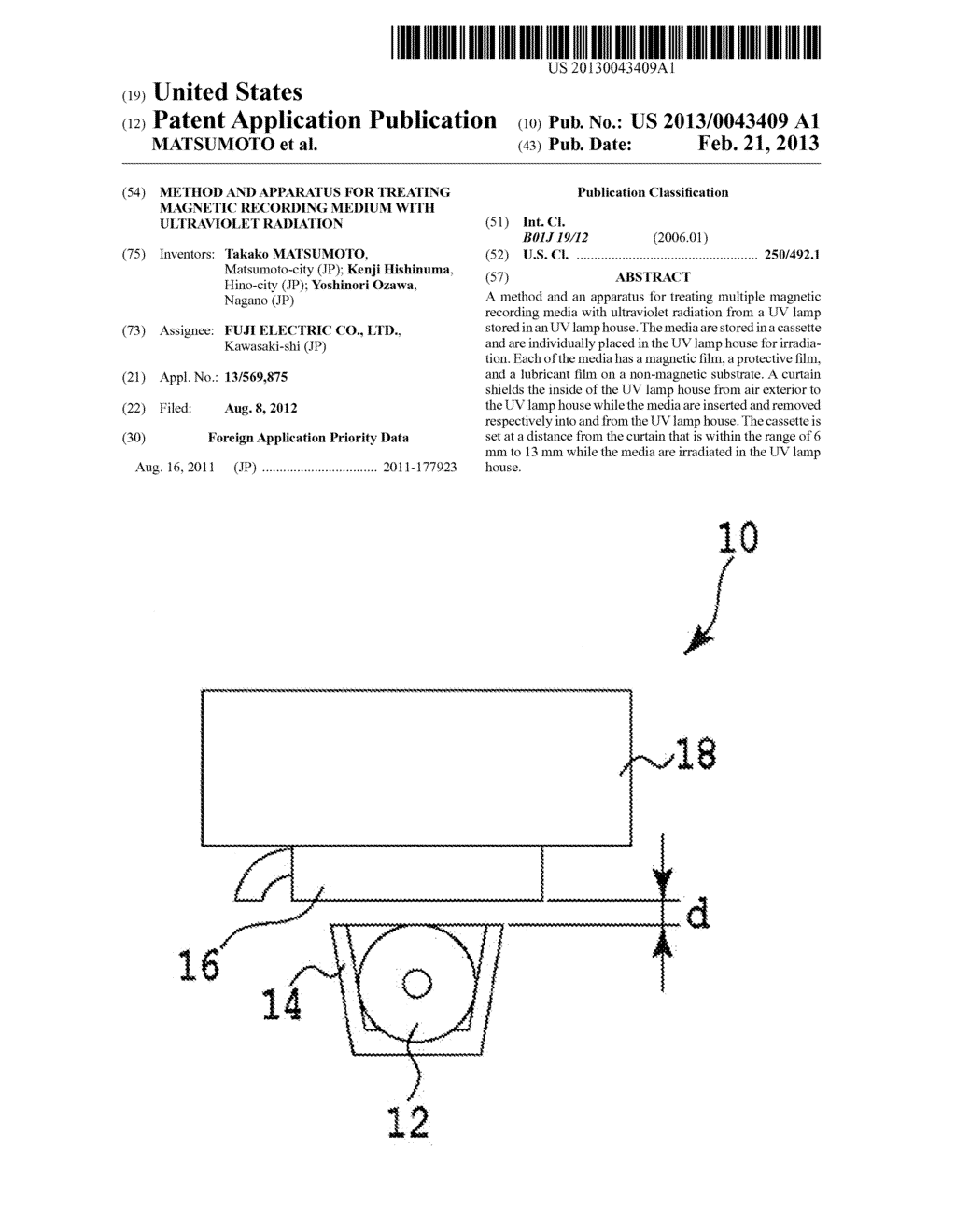 METHOD AND APPARATUS FOR TREATING MAGNETIC RECORDING MEDIUM WITH     ULTRAVIOLET RADIATION - diagram, schematic, and image 01