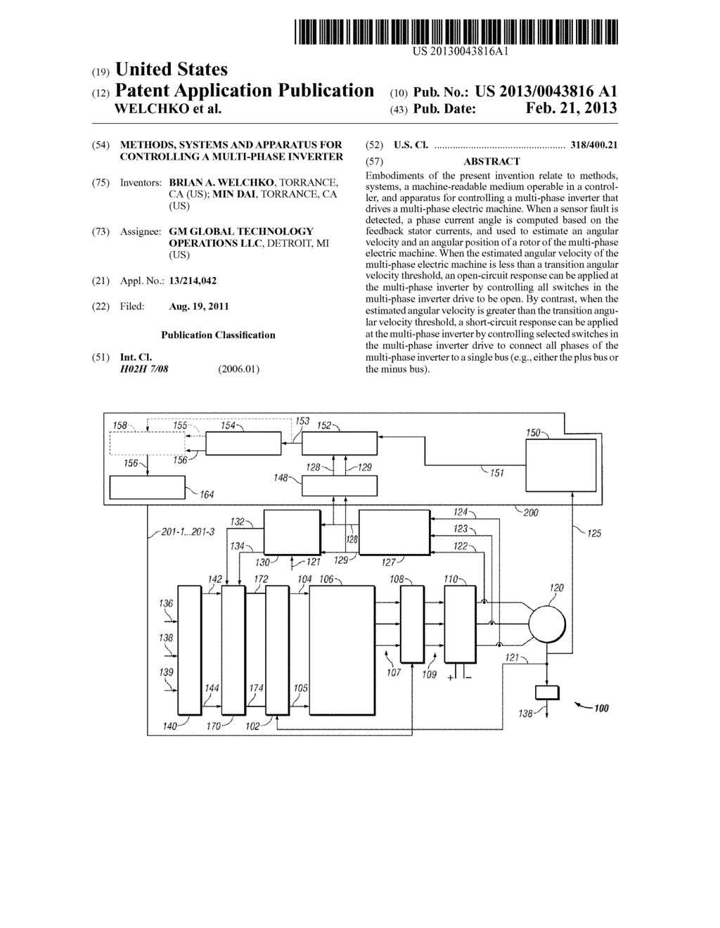 METHODS, SYSTEMS AND APPARATUS FOR CONTROLLING A MULTI-PHASE INVERTER - diagram, schematic, and image 01