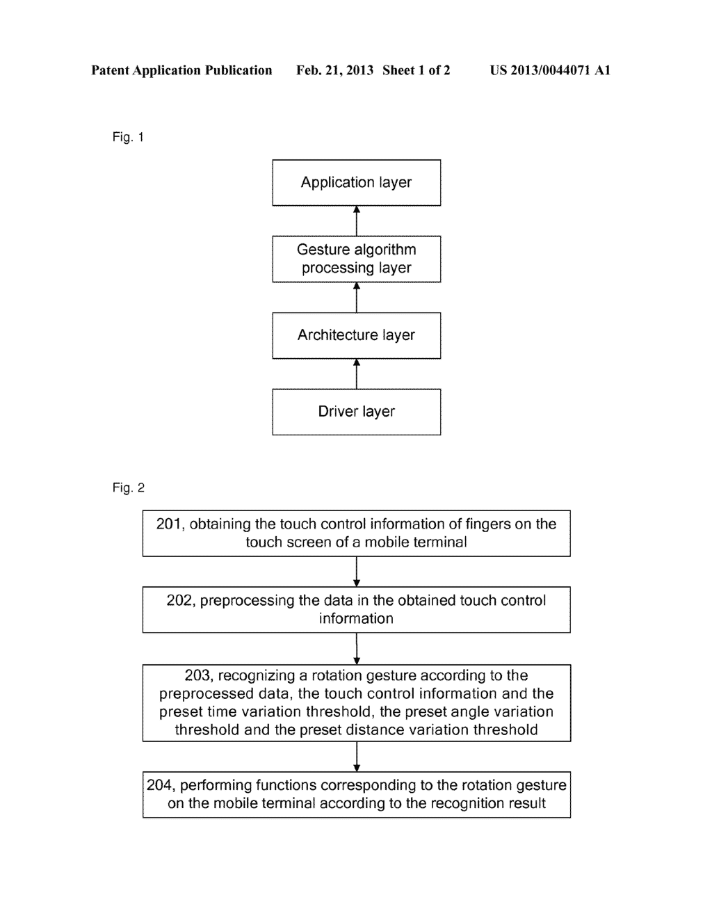 Method and mobile terminal for automatically recognizing a rotation     gesture - diagram, schematic, and image 02