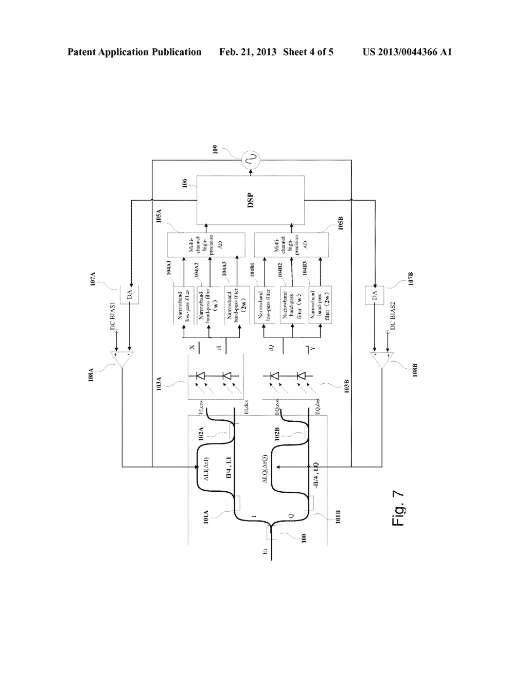 METHOD AND APPARATUS FOR CONTROLLING BIAS POINT OF DIFFERENTIAL QUADRATURE     PHASE SHIFT KEYING DEMODULATOR - diagram, schematic, and image 05