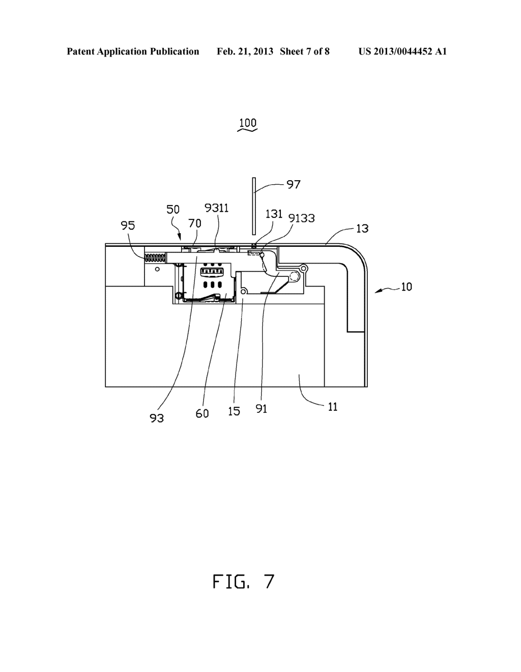CHIP CARD HOLDING MECHANISM AND PORTABLE ELECTRONIC DEVICE USING SAME - diagram, schematic, and image 08