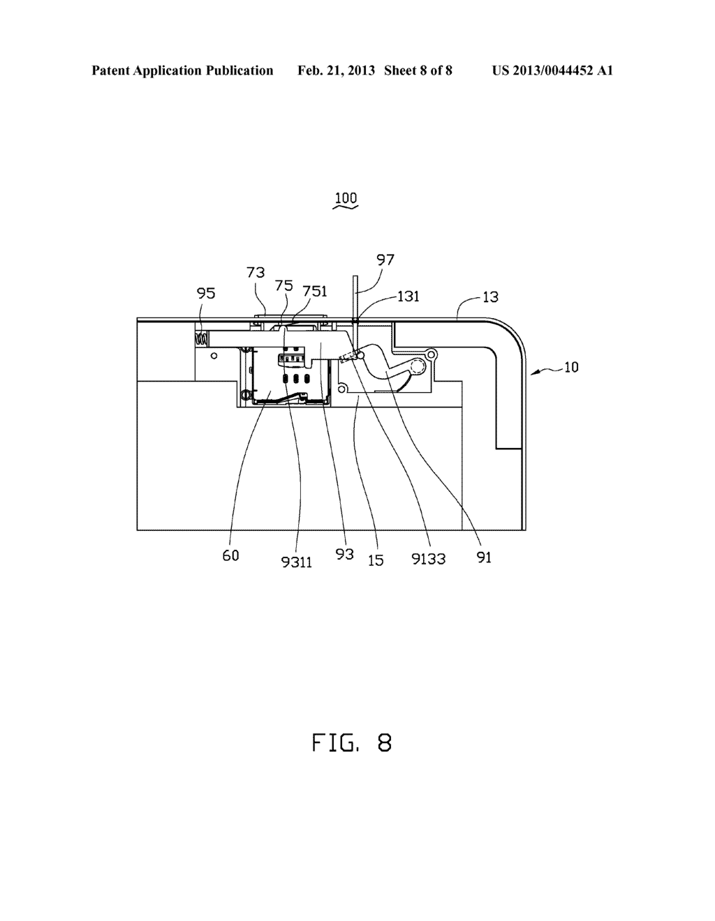 CHIP CARD HOLDING MECHANISM AND PORTABLE ELECTRONIC DEVICE USING SAME - diagram, schematic, and image 09