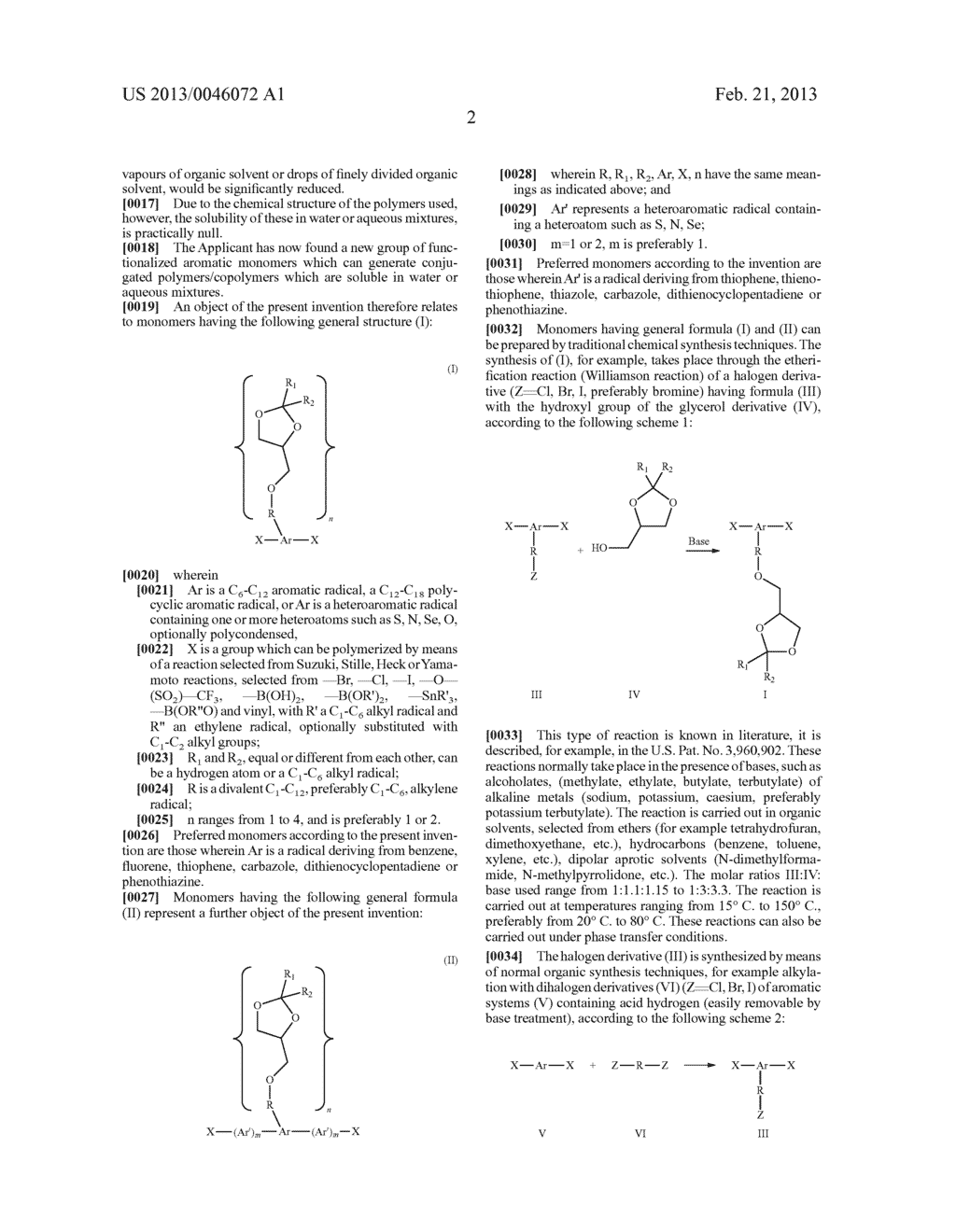 AROMATIC MONOMERS DERIVING FROM GLYCEROL UNITS, PROCESS FOR THEIR     PREPARATION AND USE THEREOF FOR THE PREPARATION OF WATER-SOLUBLE     CONJUGATED POLYMERS - diagram, schematic, and image 03