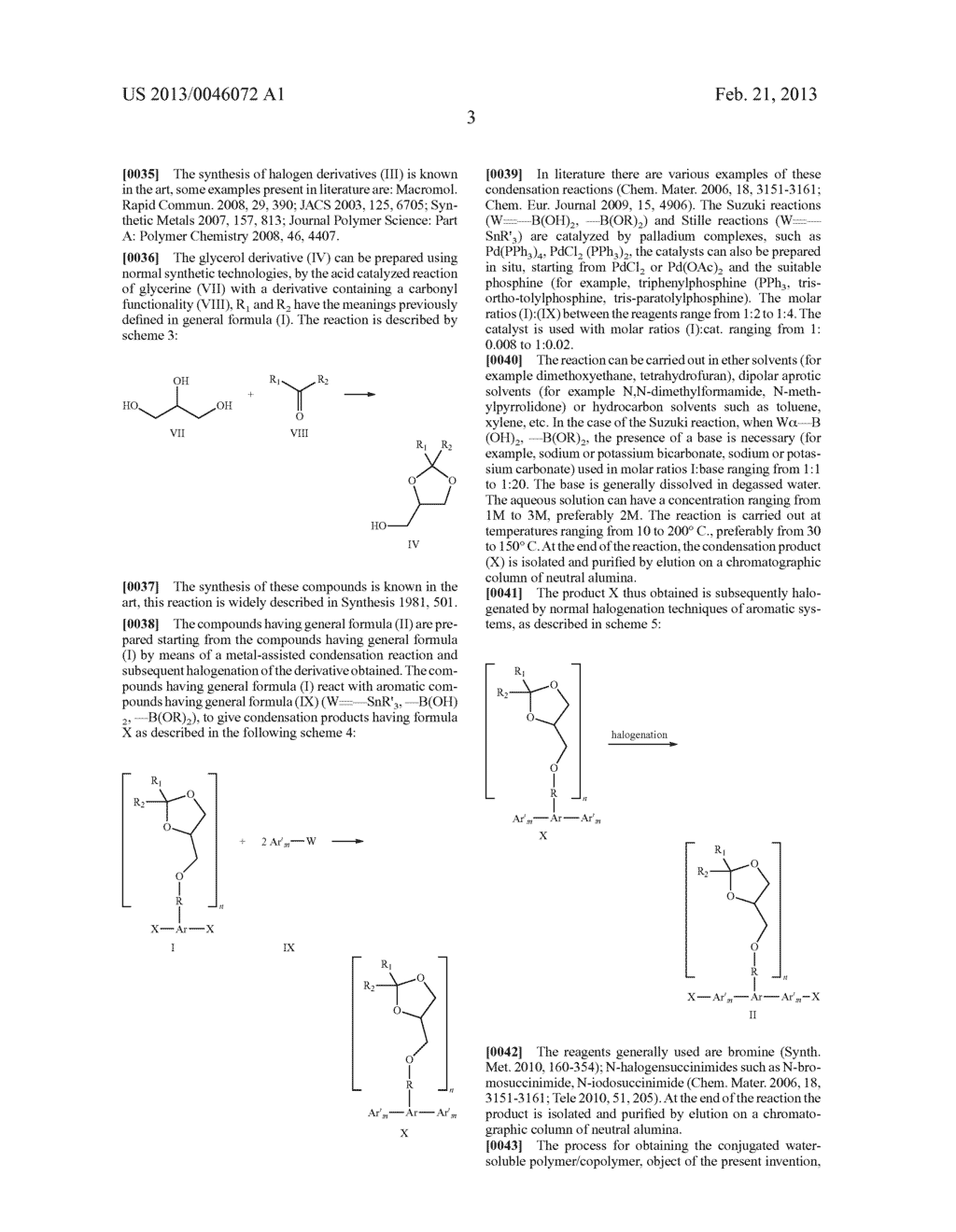 AROMATIC MONOMERS DERIVING FROM GLYCEROL UNITS, PROCESS FOR THEIR     PREPARATION AND USE THEREOF FOR THE PREPARATION OF WATER-SOLUBLE     CONJUGATED POLYMERS - diagram, schematic, and image 04