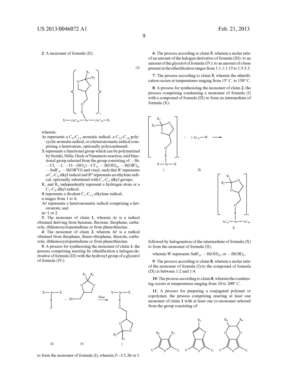 AROMATIC MONOMERS DERIVING FROM GLYCEROL UNITS, PROCESS FOR THEIR     PREPARATION AND USE THEREOF FOR THE PREPARATION OF WATER-SOLUBLE     CONJUGATED POLYMERS - diagram, schematic, and image 10