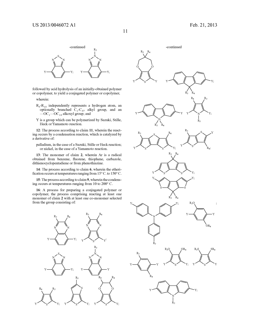 AROMATIC MONOMERS DERIVING FROM GLYCEROL UNITS, PROCESS FOR THEIR     PREPARATION AND USE THEREOF FOR THE PREPARATION OF WATER-SOLUBLE     CONJUGATED POLYMERS - diagram, schematic, and image 12