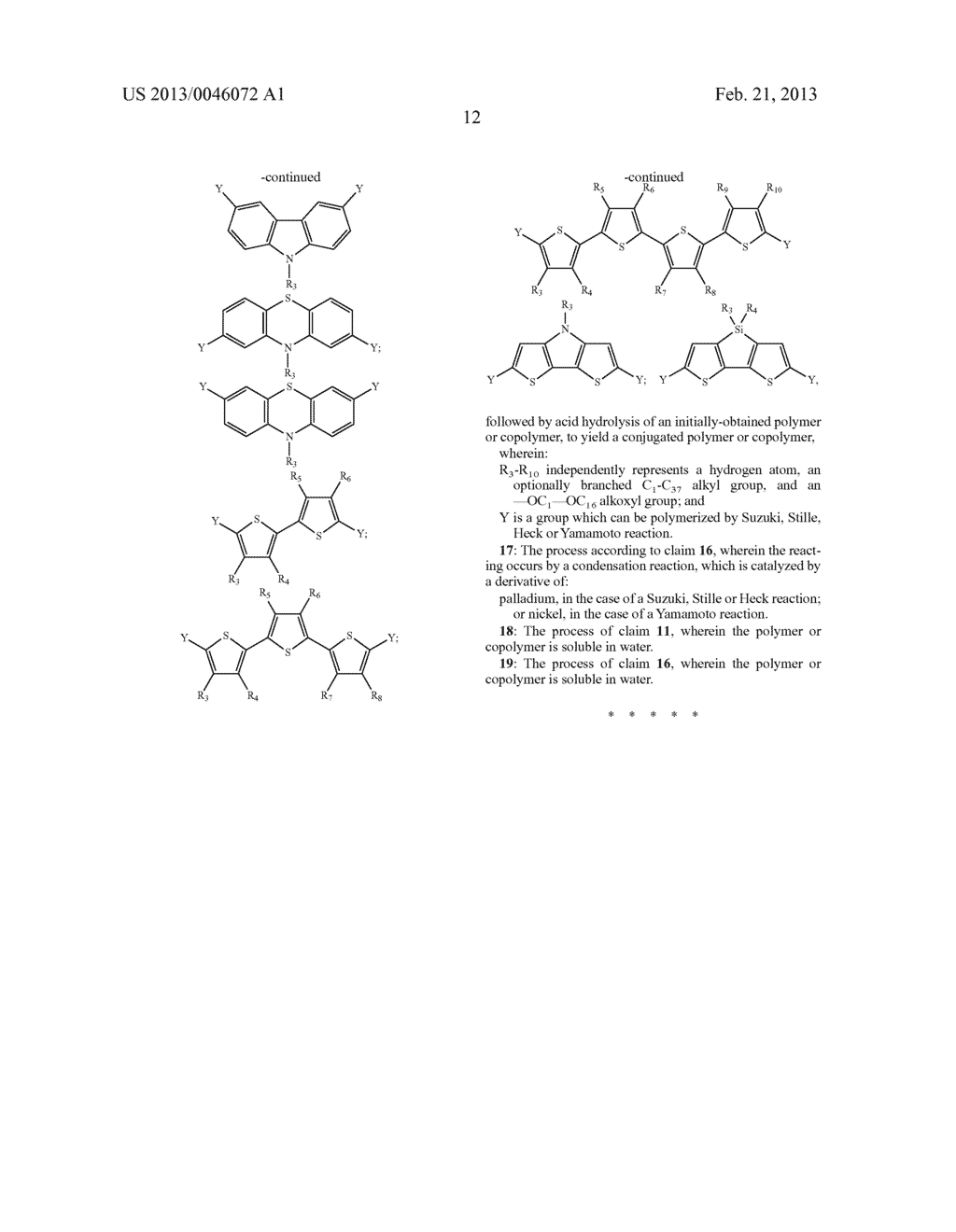 AROMATIC MONOMERS DERIVING FROM GLYCEROL UNITS, PROCESS FOR THEIR     PREPARATION AND USE THEREOF FOR THE PREPARATION OF WATER-SOLUBLE     CONJUGATED POLYMERS - diagram, schematic, and image 13