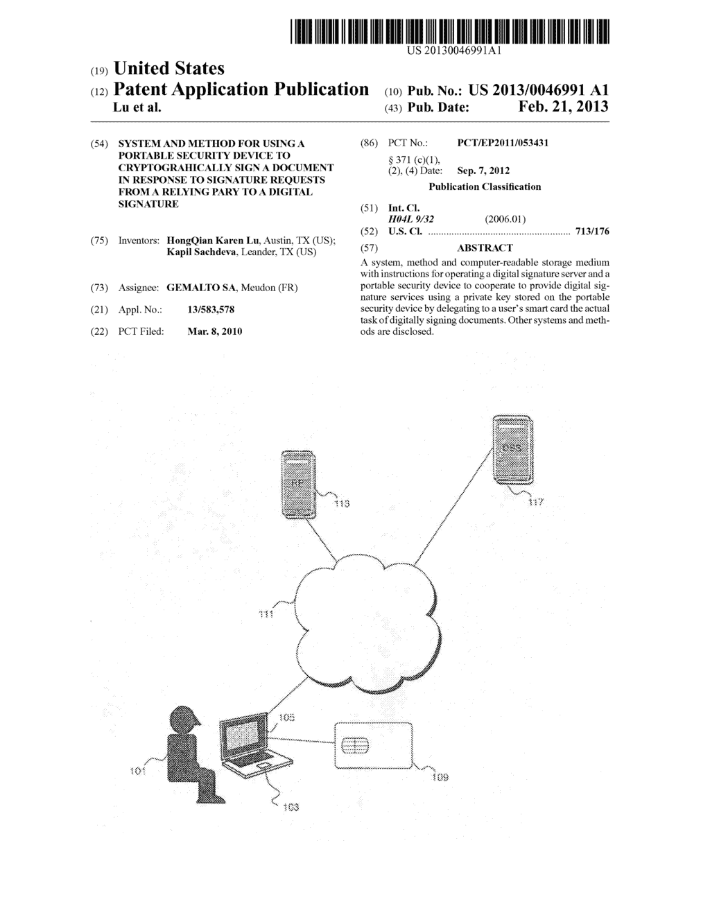 SYSTEM AND METHOD FOR USING A PORTABLE SECURITY DEVICE TO CRYPTOGRAHICALLY     SIGN A DOCUMENT IN RESPONSE TO SIGNATURE REQUESTS FROM A RELYING PARY TO     A DIGITAL SIGNATURE - diagram, schematic, and image 01