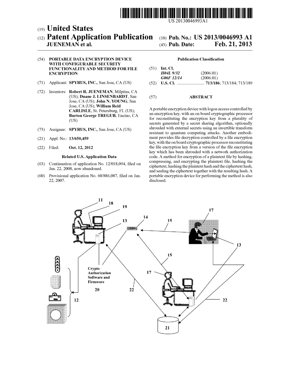 Portable Data Encryption Device with Configurable Security Functionality     and Method for File Encryption - diagram, schematic, and image 01