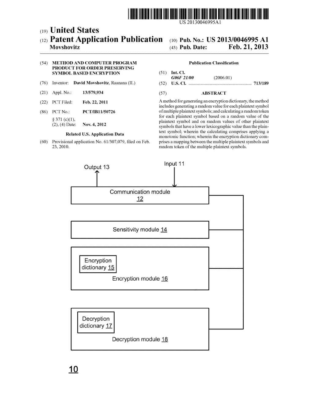 METHOD AND COMPUTER PROGRAM PRODUCT FOR ORDER PRESERVING SYMBOL BASED     ENCRYPTION - diagram, schematic, and image 01