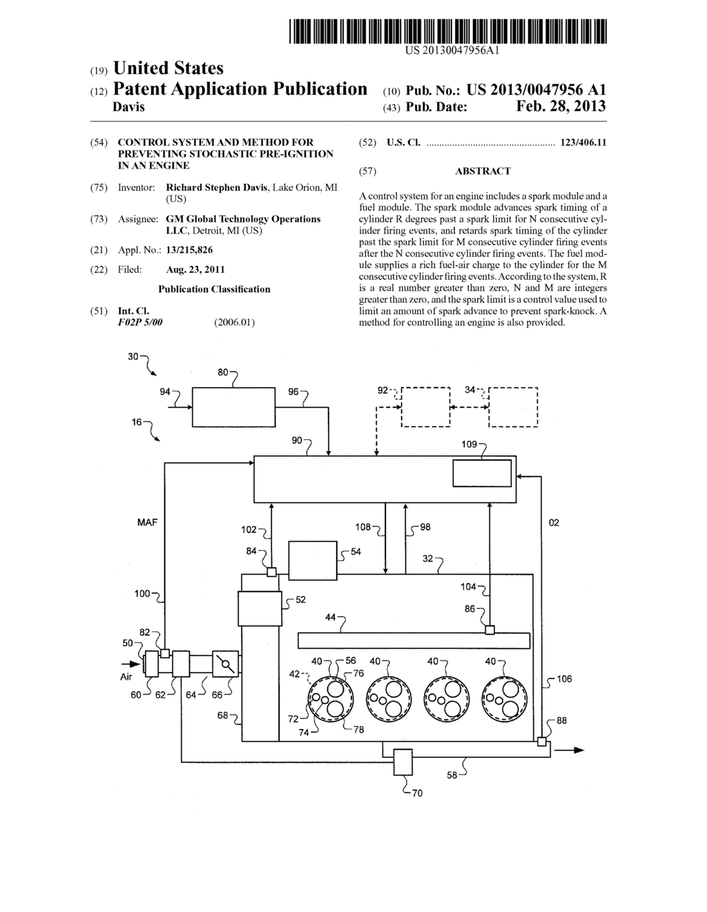 CONTROL SYSTEM AND METHOD FOR PREVENTING STOCHASTIC PRE-IGNITION IN AN     ENGINE - diagram, schematic, and image 01