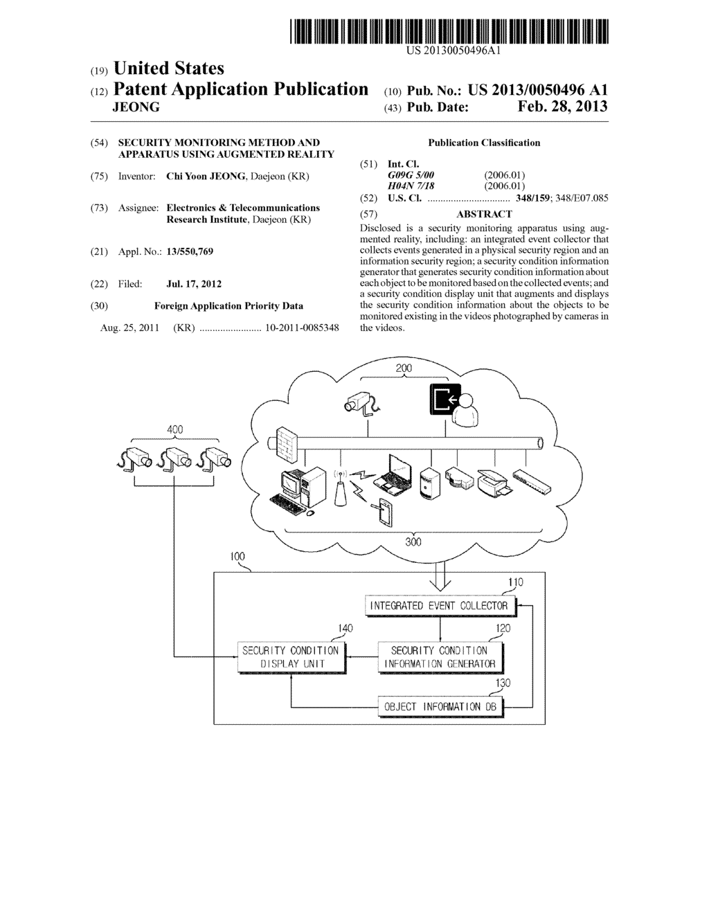 SECURITY MONITORING METHOD AND APPARATUS USING AUGMENTED REALITY - diagram, schematic, and image 01