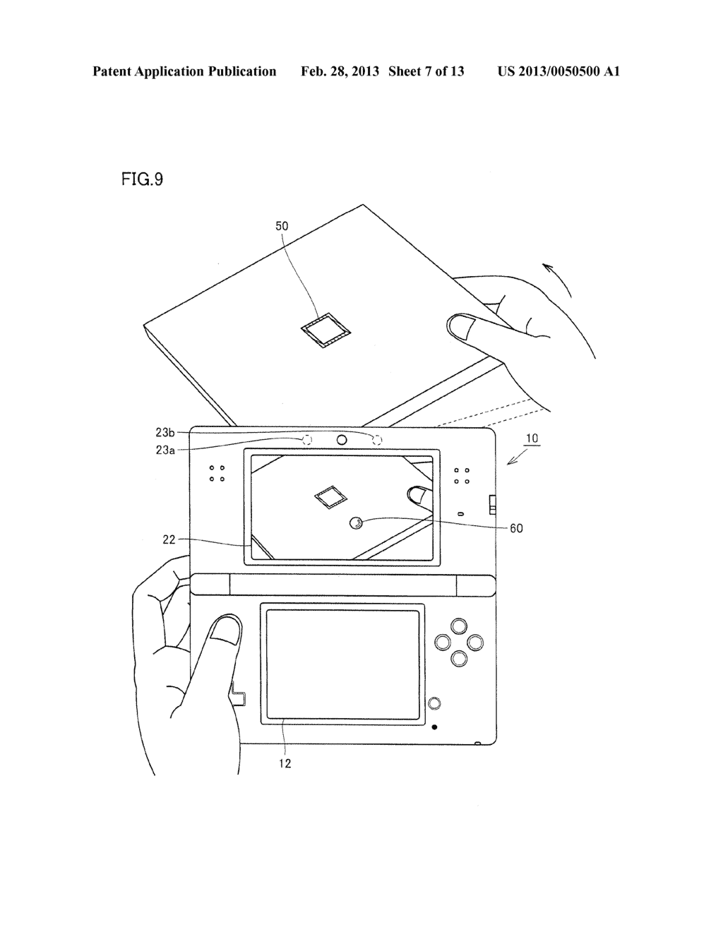 INFORMATION PROCESSING PROGRAM, INFORMATION PROCESSING SYSTEM, INFORMATION     PROCESSING APPARATUS, AND INFORMATION PROCESSING METHOD, UTILIZING     AUGMENTED REALITY TECHNIQUE - diagram, schematic, and image 08