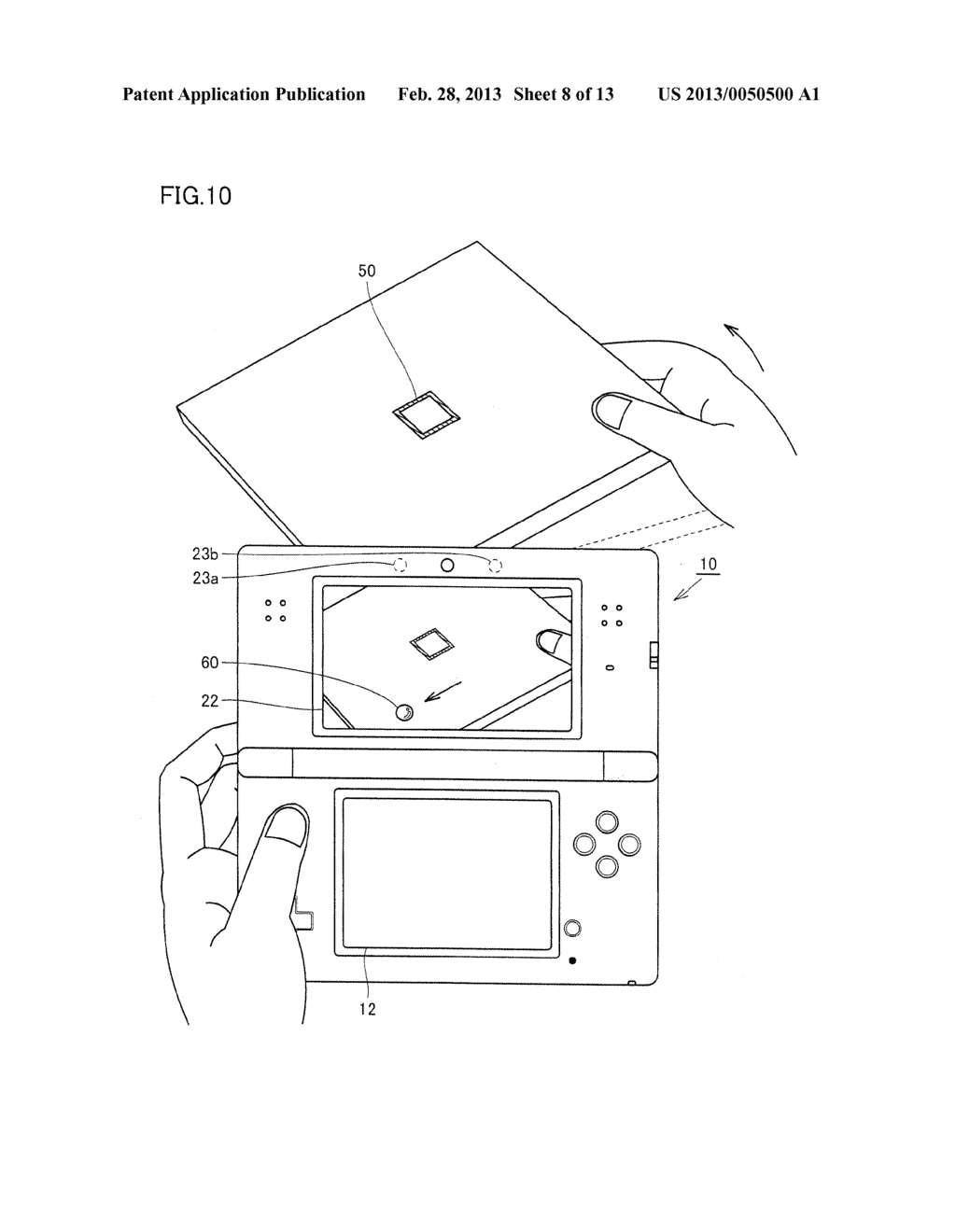 INFORMATION PROCESSING PROGRAM, INFORMATION PROCESSING SYSTEM, INFORMATION     PROCESSING APPARATUS, AND INFORMATION PROCESSING METHOD, UTILIZING     AUGMENTED REALITY TECHNIQUE - diagram, schematic, and image 09
