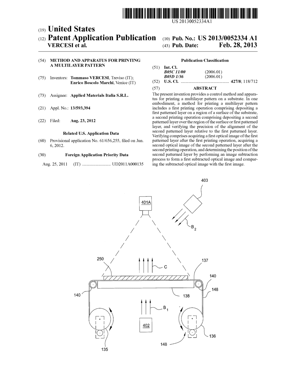 METHOD AND APPARATUS FOR PRINTING A MULTILAYER PATTERN - diagram, schematic, and image 01