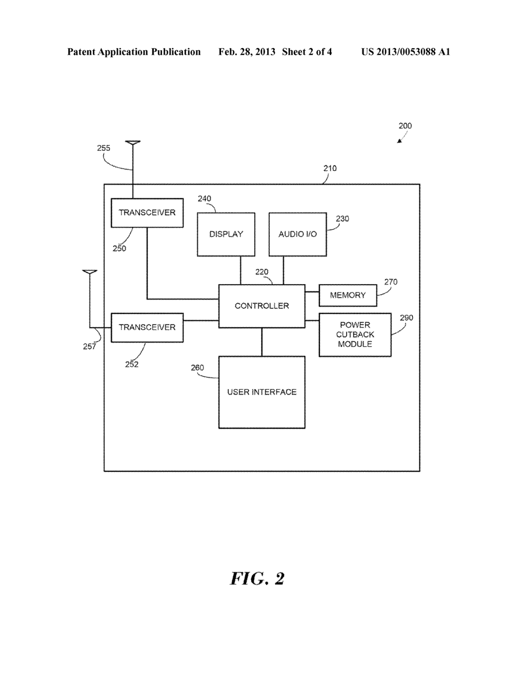METHOD AND APPARATUS FOR POWER CUTBACK IN A SIMULTANEOUS DUAL FREQUENCY     BAND CALL - diagram, schematic, and image 03