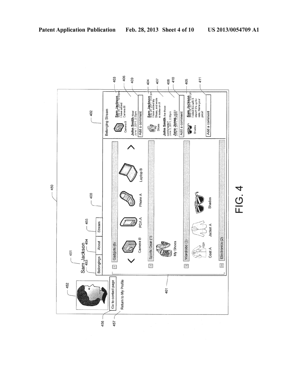 System and Method for Displaying a Belonging-Related Stream - diagram, schematic, and image 05