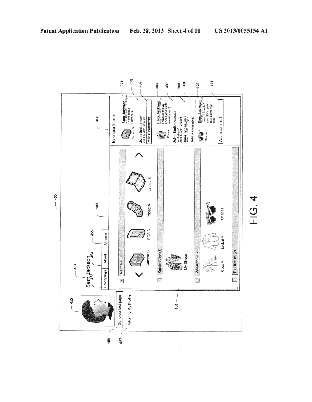 User Graphical Interface for Displaying a Belonging-Related Stream - diagram, schematic, and image 05