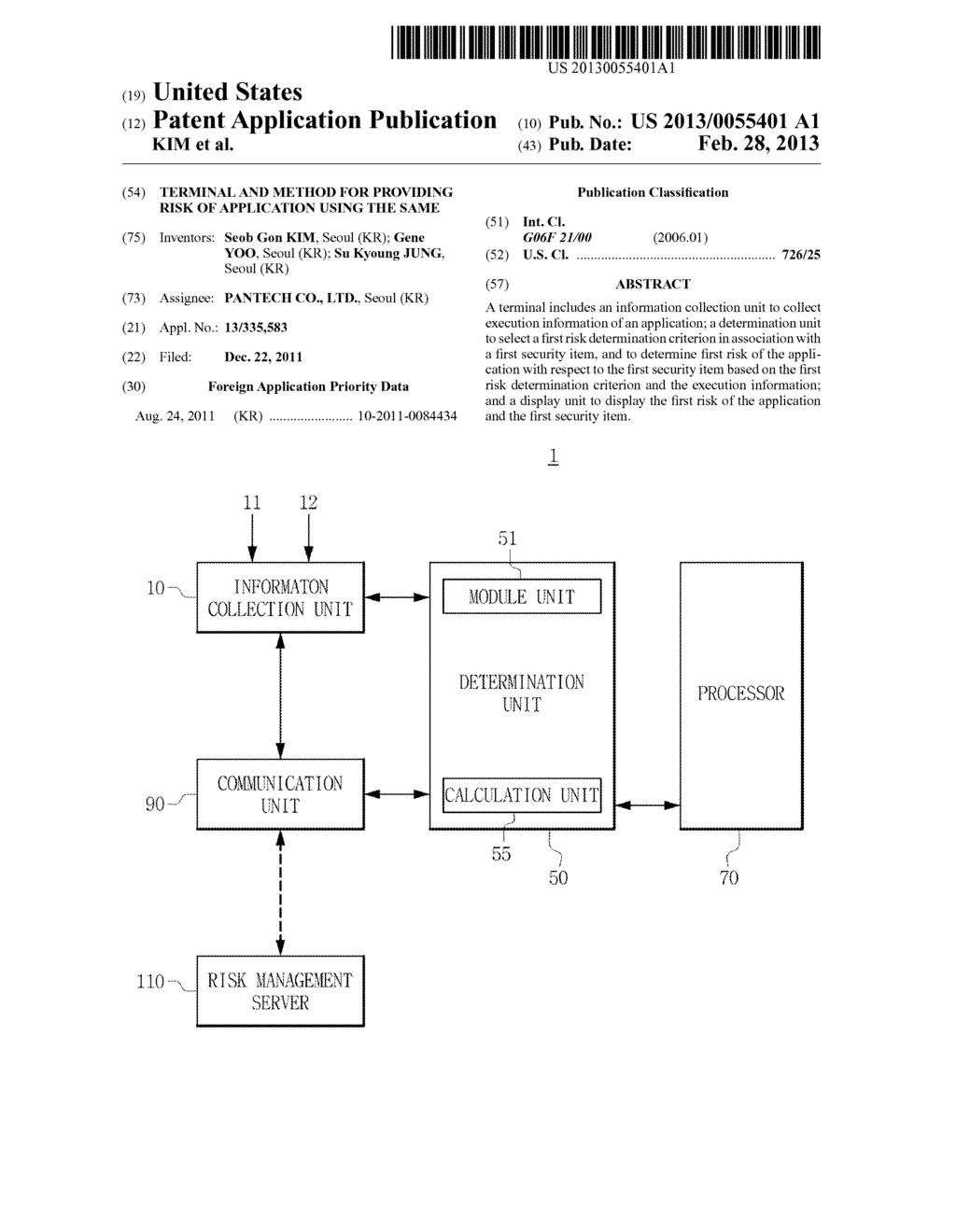 TERMINAL AND METHOD FOR PROVIDING RISK OF APPLICATION USING THE SAME - diagram, schematic, and image 01