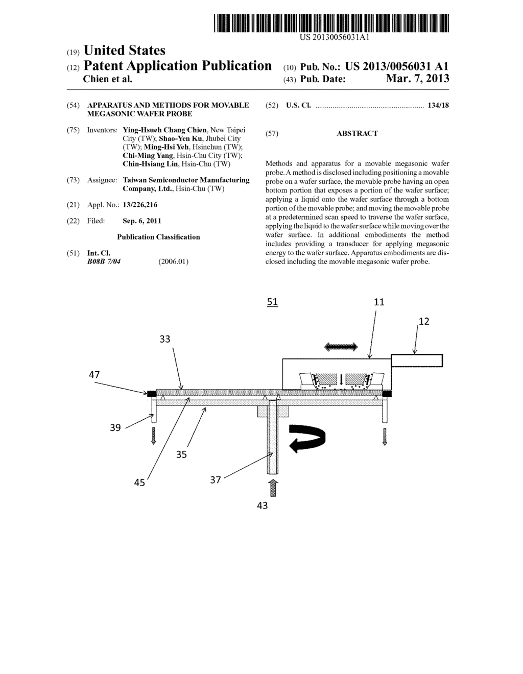 Apparatus and Methods for Movable Megasonic Wafer Probe - diagram, schematic, and image 01