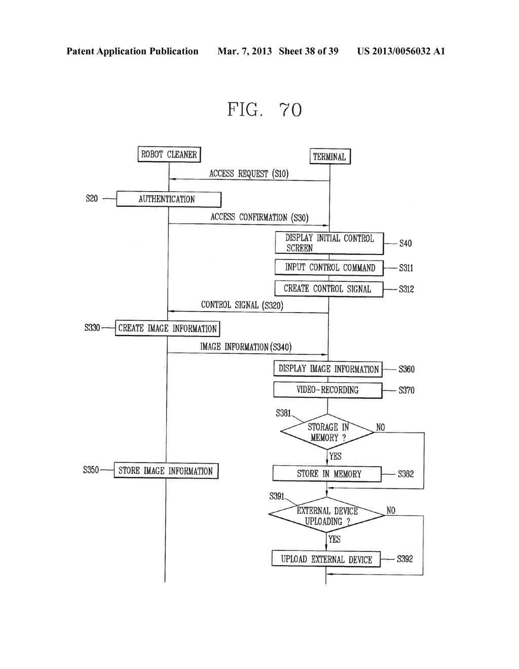 ROBOT CLEANER, AND SYSTEM AND METHOD FOR REMOTELY CONTROLLING THE SAME - diagram, schematic, and image 39