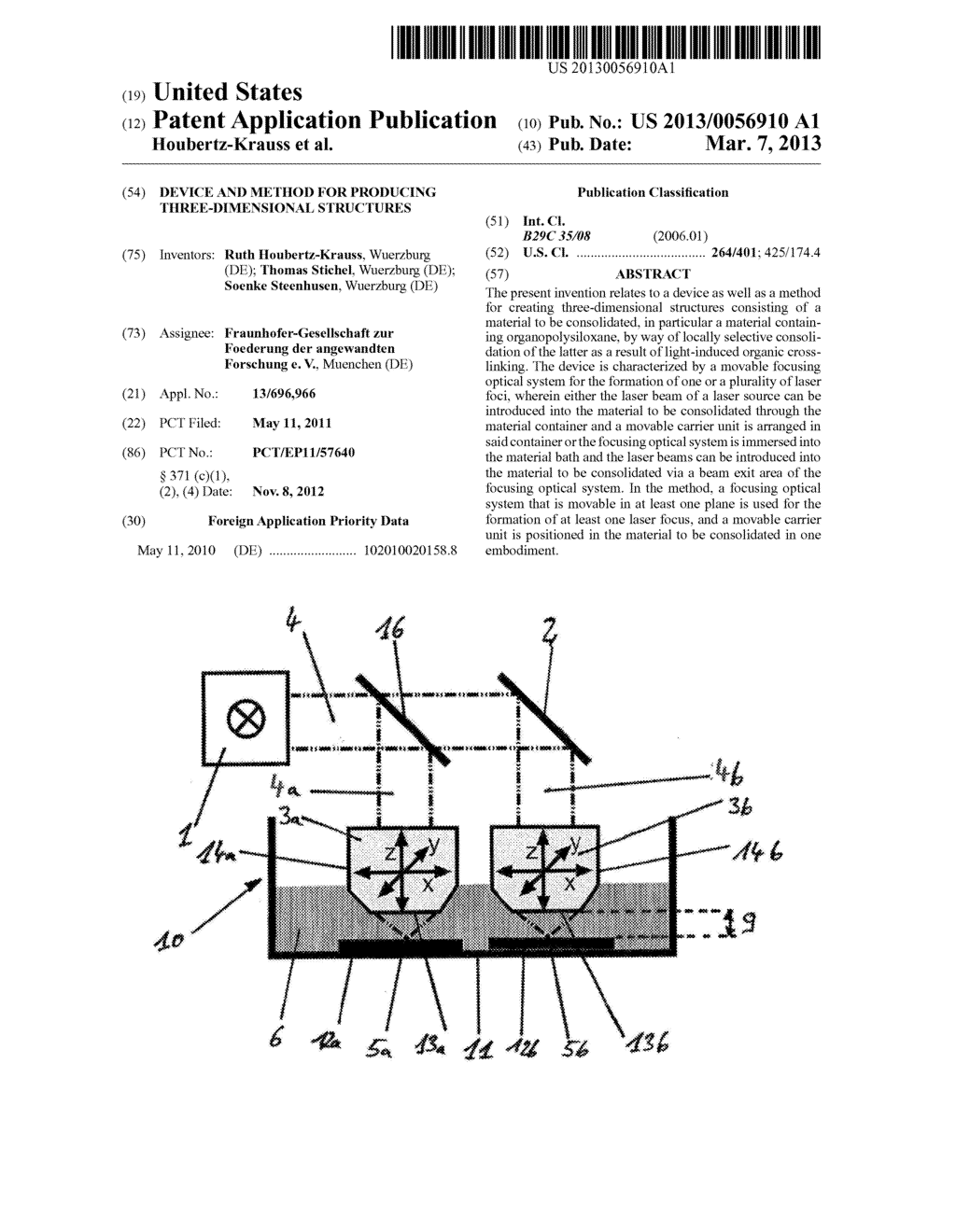 DEVICE AND METHOD FOR PRODUCING THREE-DIMENSIONAL STRUCTURES - diagram, schematic, and image 01