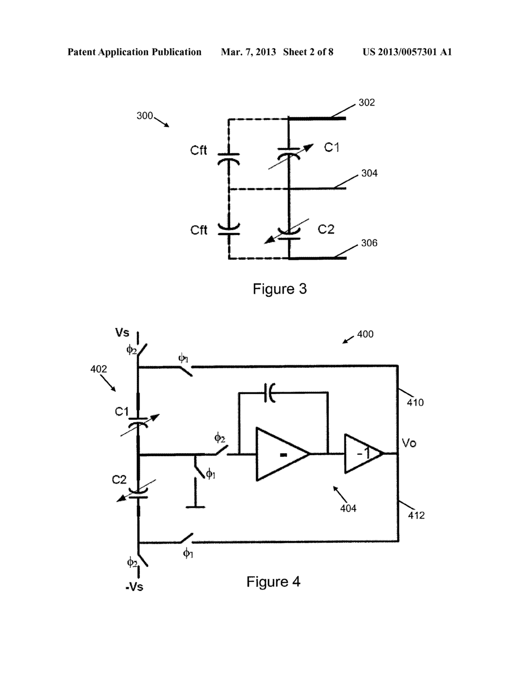 LINEAR CAPACITANCE-TO-VOLTAGE CONVERTER USING A SINGLE AMPLIFIER FOR     ACCELEROMETER FRONT ENDS WITH CANCELLATION OF SPURIOUS FORCES CONTRIBUTED     BY SENSOR CIRCUITRY - diagram, schematic, and image 03