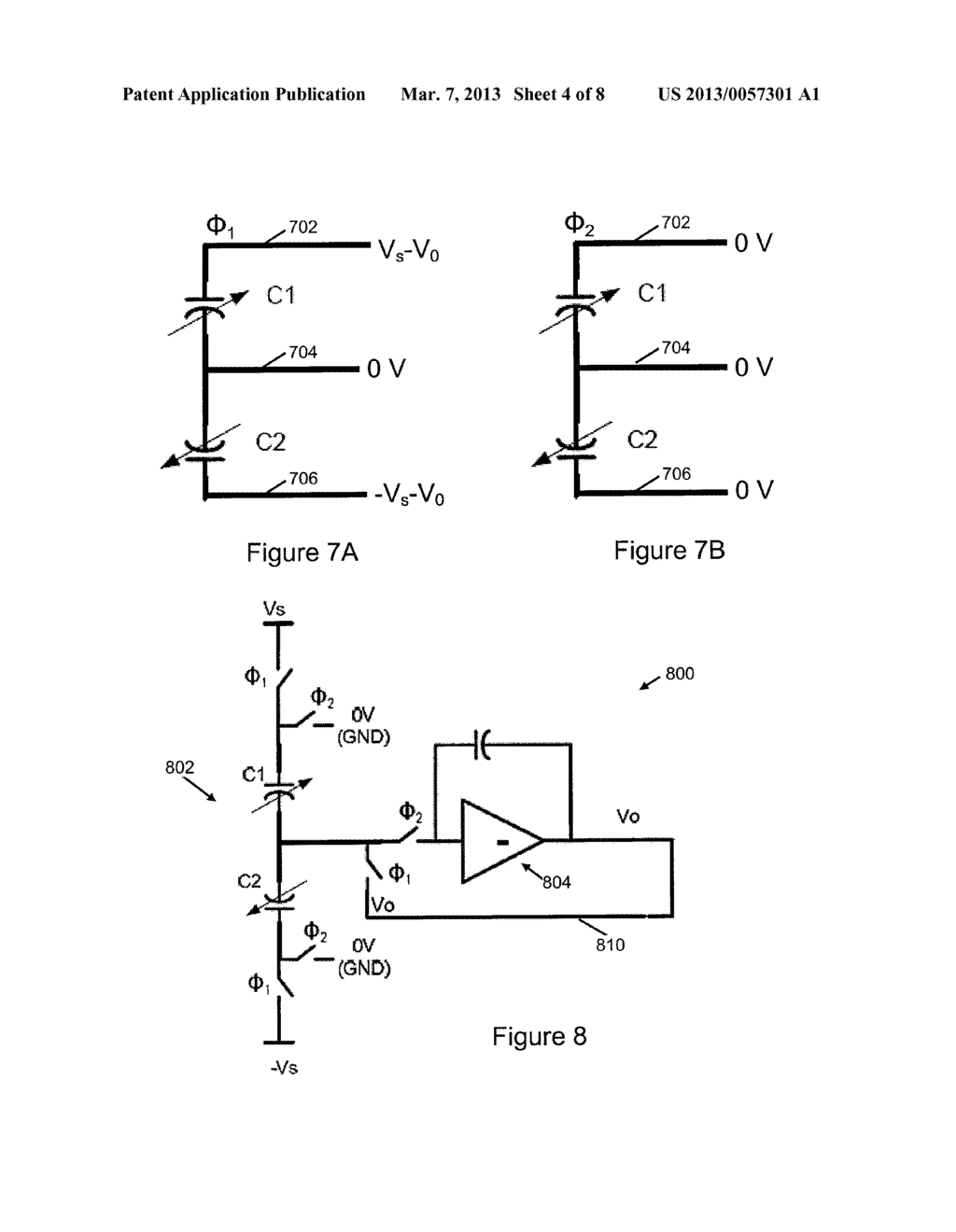 LINEAR CAPACITANCE-TO-VOLTAGE CONVERTER USING A SINGLE AMPLIFIER FOR     ACCELEROMETER FRONT ENDS WITH CANCELLATION OF SPURIOUS FORCES CONTRIBUTED     BY SENSOR CIRCUITRY - diagram, schematic, and image 05