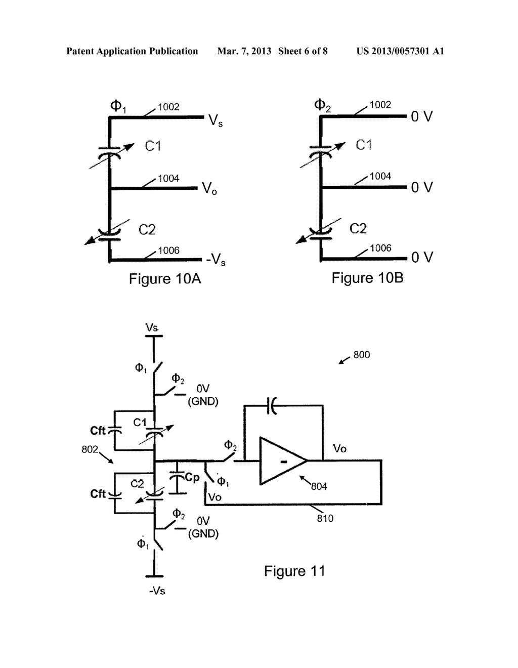 LINEAR CAPACITANCE-TO-VOLTAGE CONVERTER USING A SINGLE AMPLIFIER FOR     ACCELEROMETER FRONT ENDS WITH CANCELLATION OF SPURIOUS FORCES CONTRIBUTED     BY SENSOR CIRCUITRY - diagram, schematic, and image 07