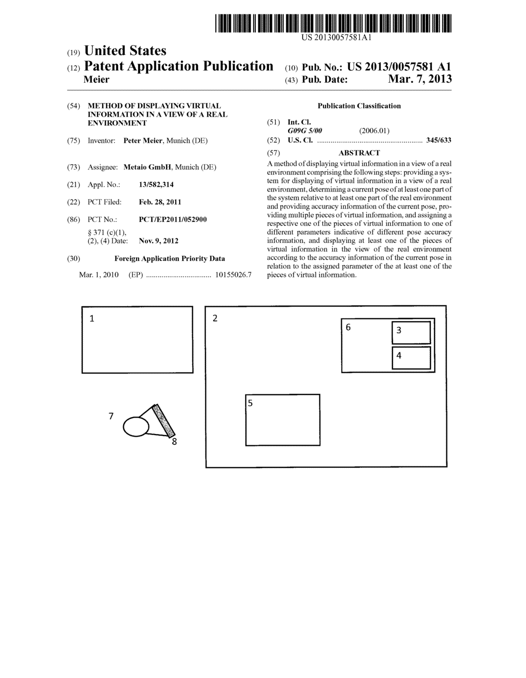 METHOD OF DISPLAYING VIRTUAL INFORMATION IN A VIEW OF A REAL ENVIRONMENT - diagram, schematic, and image 01