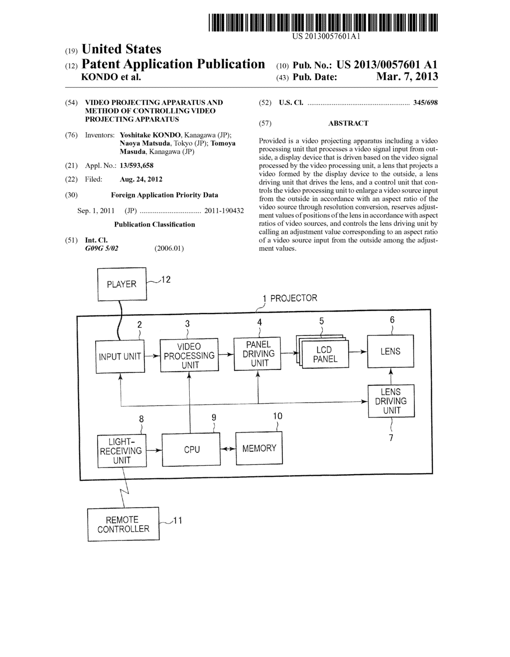 VIDEO PROJECTING APPARATUS AND METHOD OF CONTROLLING VIDEO PROJECTING     APPARATUS - diagram, schematic, and image 01
