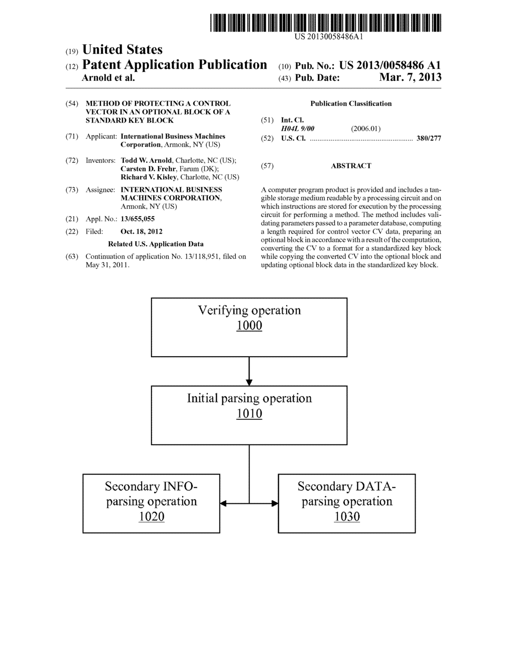 METHOD OF PROTECTING A CONTROL VECTOR IN AN OPTIONAL BLOCK OF A STANDARD     KEY BLOCK - diagram, schematic, and image 01