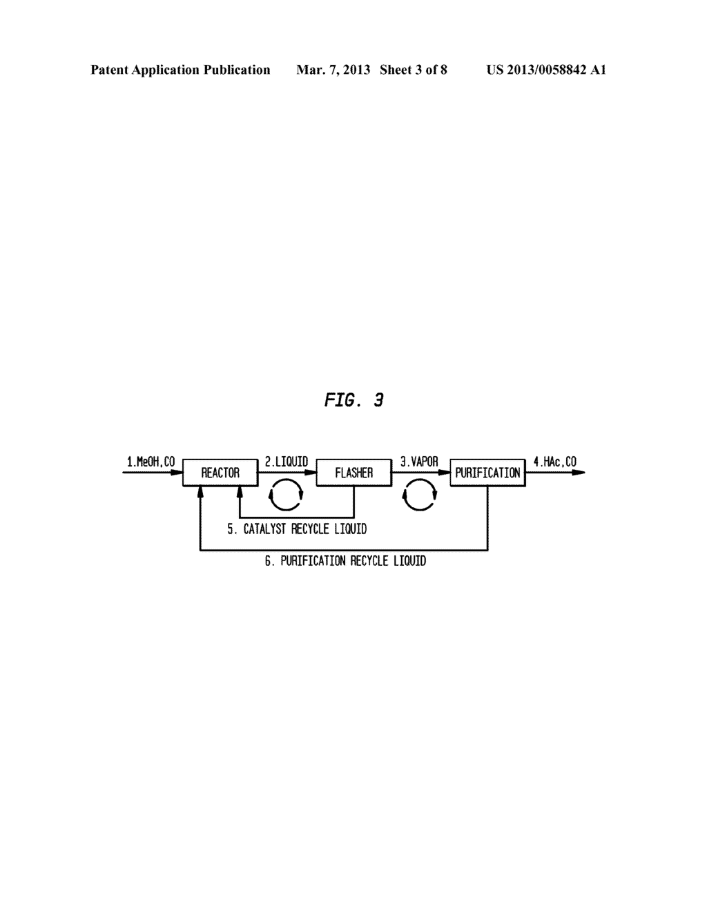 Method and Apparatus for Carbonylating Methanol with Acetic Acid Enriched     Flash Stream - diagram, schematic, and image 04