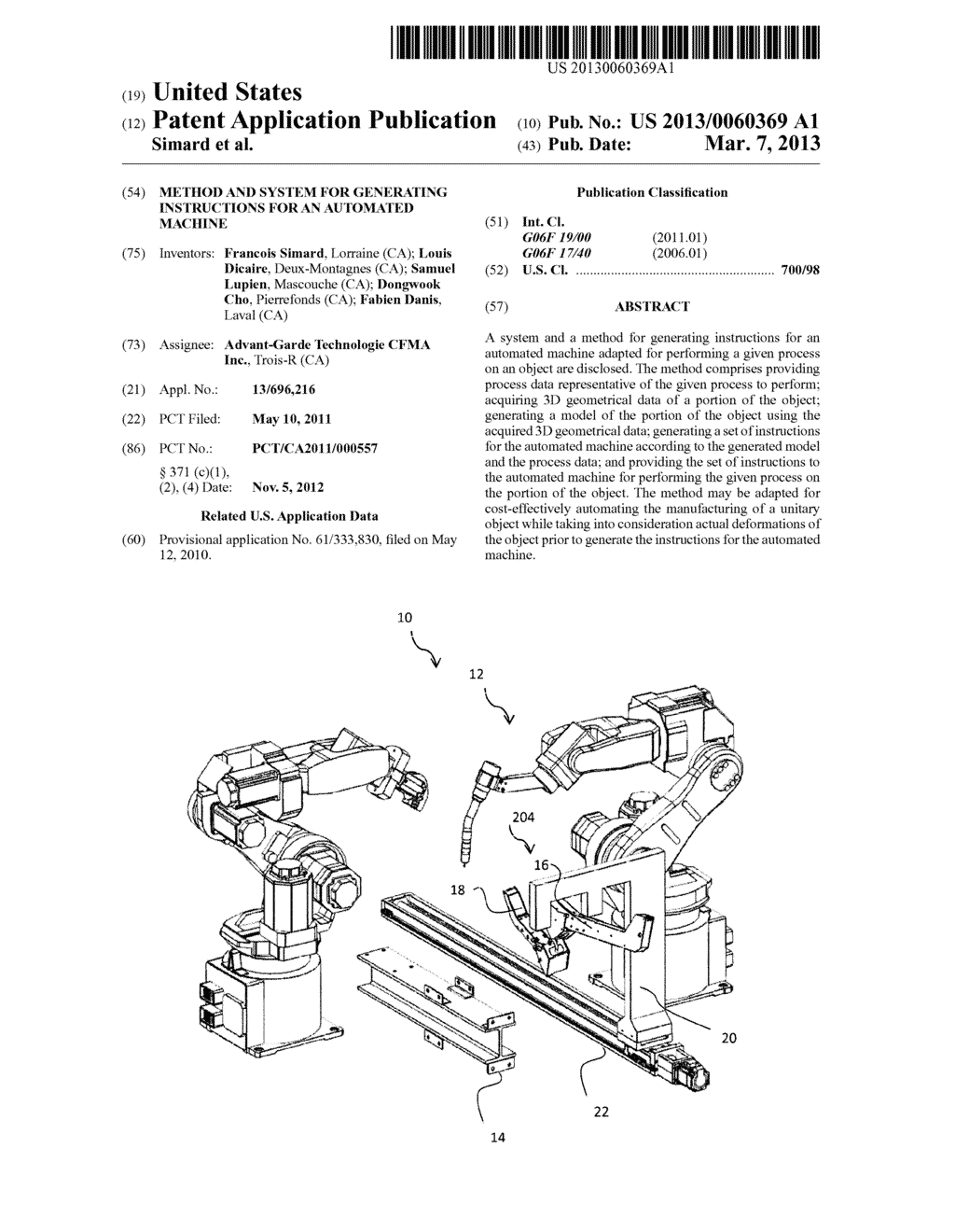 METHOD AND SYSTEM FOR GENERATING INSTRUCTIONS FOR AN AUTOMATED MACHINE - diagram, schematic, and image 01