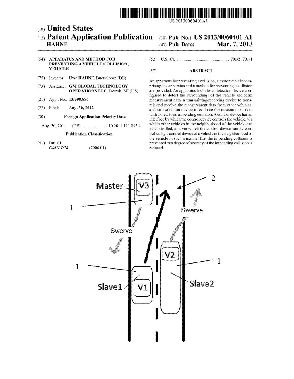 APPARATUS AND METHOD FOR PREVENTING A VEHICLE COLLISION, VEHICLE - diagram, schematic, and image 01
