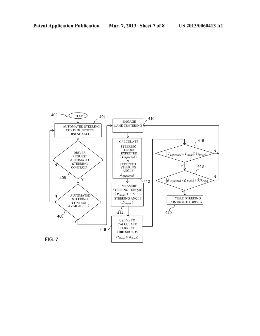 SYSTEM AND METHOD FOR SPEED ADAPTIVE STEERING OVERRIDE DETECTION DURING     AUTOMATED LANE CENTERING - diagram, schematic, and image 08