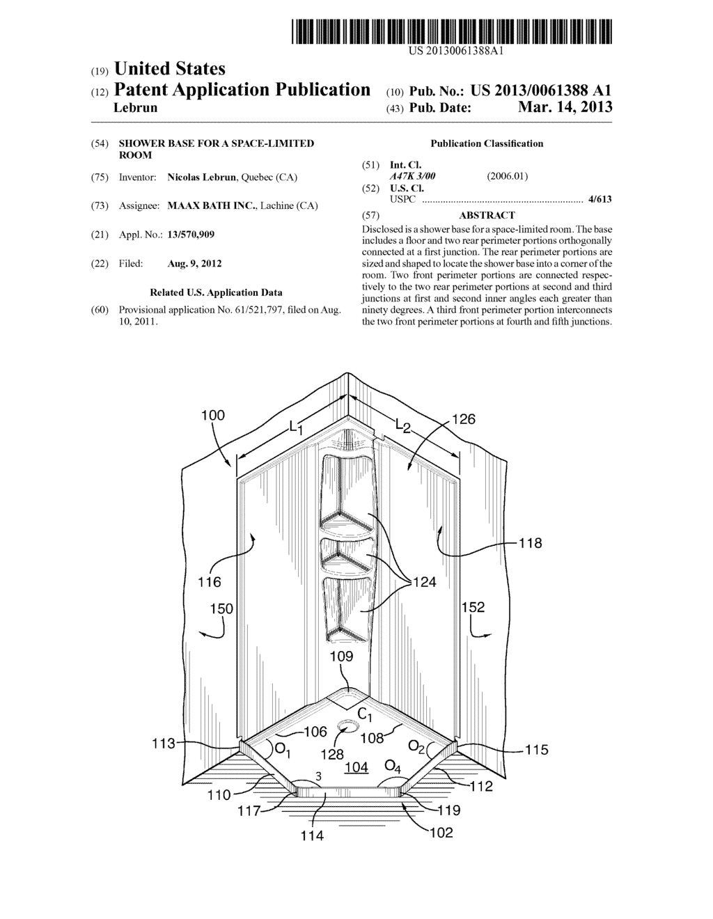 SHOWER BASE FOR A SPACE-LIMITED ROOM - diagram, schematic, and image 01