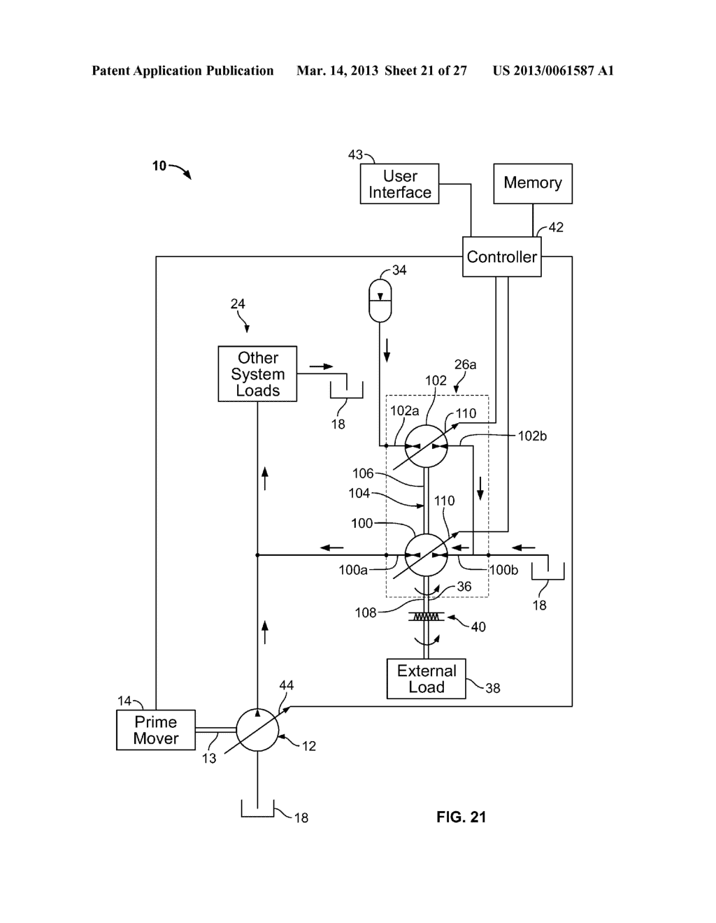 SYSTEM AND METHOD FOR RECOVERING ENERGY AND LEVELING HYDRAULIC SYSTEM     LOADS - diagram, schematic, and image 22