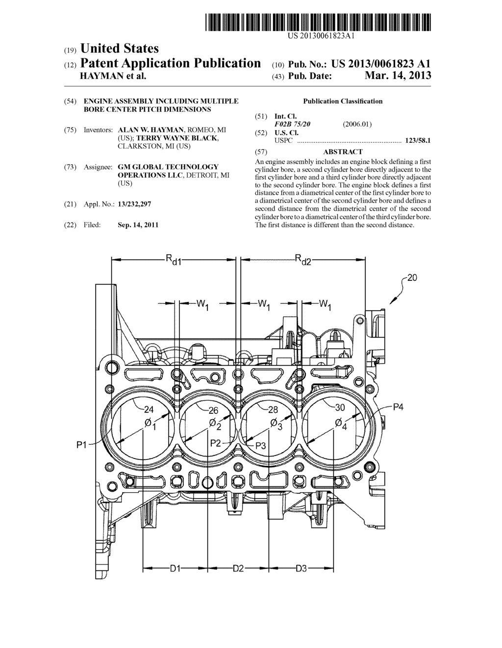 ENGINE ASSEMBLY INCLUDING MULTIPLE BORE CENTER PITCH DIMENSIONS - diagram, schematic, and image 01