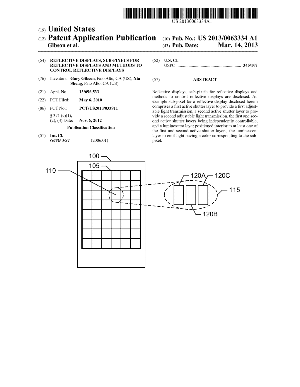 REFLECTIVE DISPLAYS, SUB-PIXELS FOR REFLECTIVE DISPLAYS AND METHODS TO     CONTROL REFLECTIVE DISPLAYS - diagram, schematic, and image 01