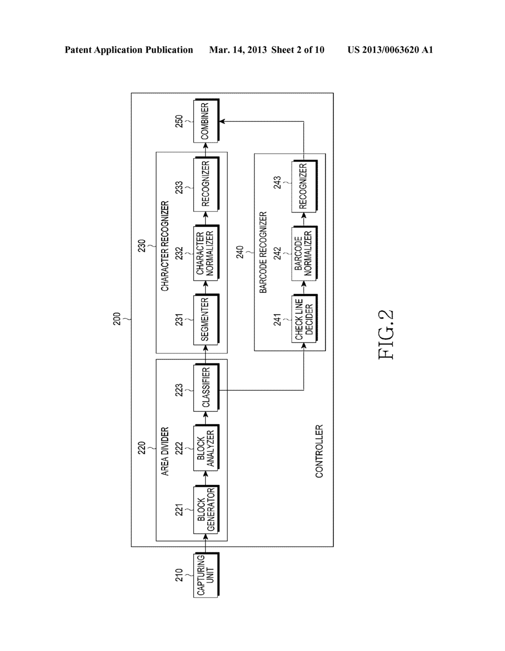 APPARATUS FOR RECOGNIZING CHARACTER AND BARCODE SIMULTANEOUSLY AND METHOD     FOR CONTROLLING THE SAME - diagram, schematic, and image 03