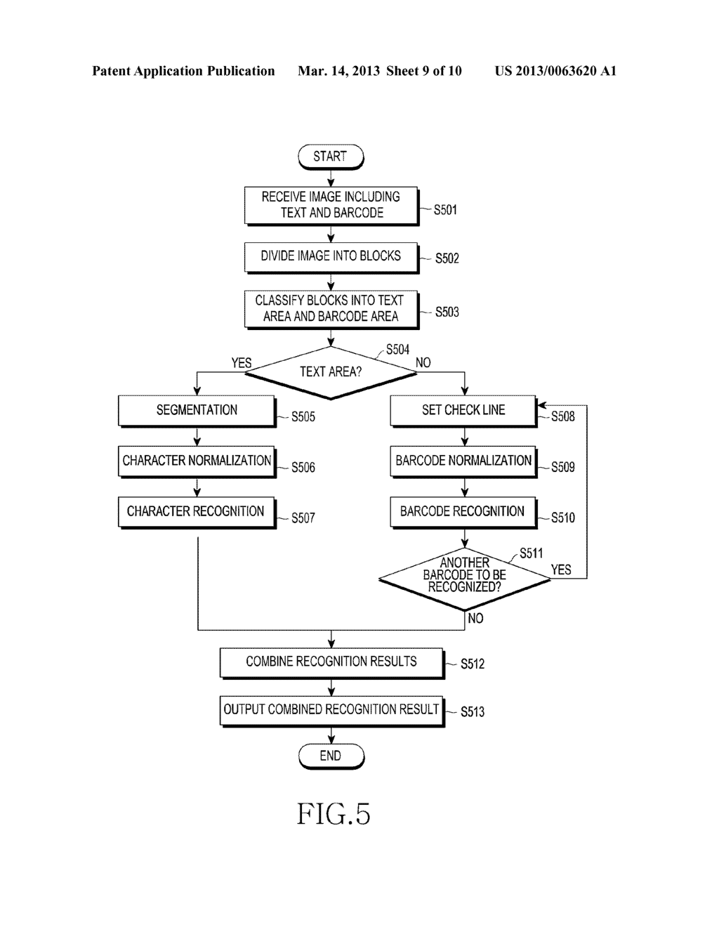 APPARATUS FOR RECOGNIZING CHARACTER AND BARCODE SIMULTANEOUSLY AND METHOD     FOR CONTROLLING THE SAME - diagram, schematic, and image 10