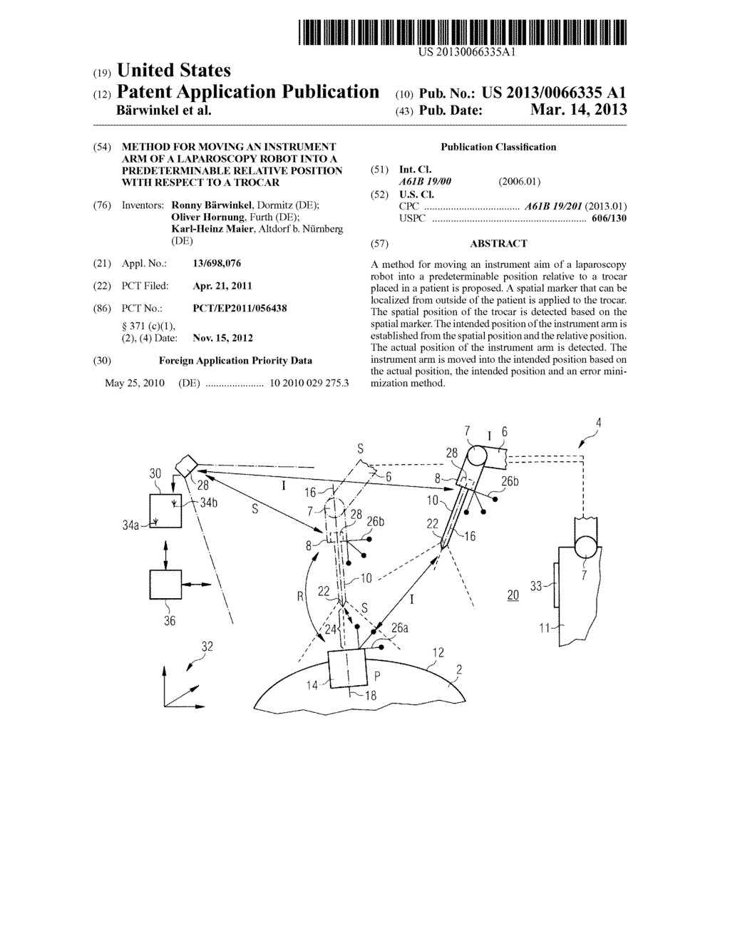 METHOD FOR MOVING AN INSTRUMENT ARM OF A LAPAROSCOPY ROBOT INTO A     PREDETERMINABLE RELATIVE POSITION WITH RESPECT TO A TROCAR - diagram, schematic, and image 01